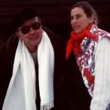 Craxi e la figlia Stefania durante una vacanza sulla neve